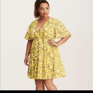 Torrid yellow floral faux wrap dress